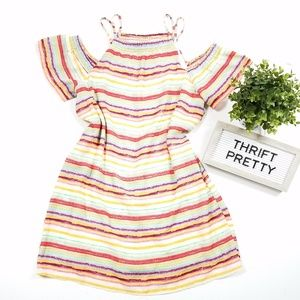 Lily Rose Striped Cold Shoulder Dress